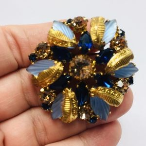 50s Vintage Blue & Gold West Germany Cushion Pin